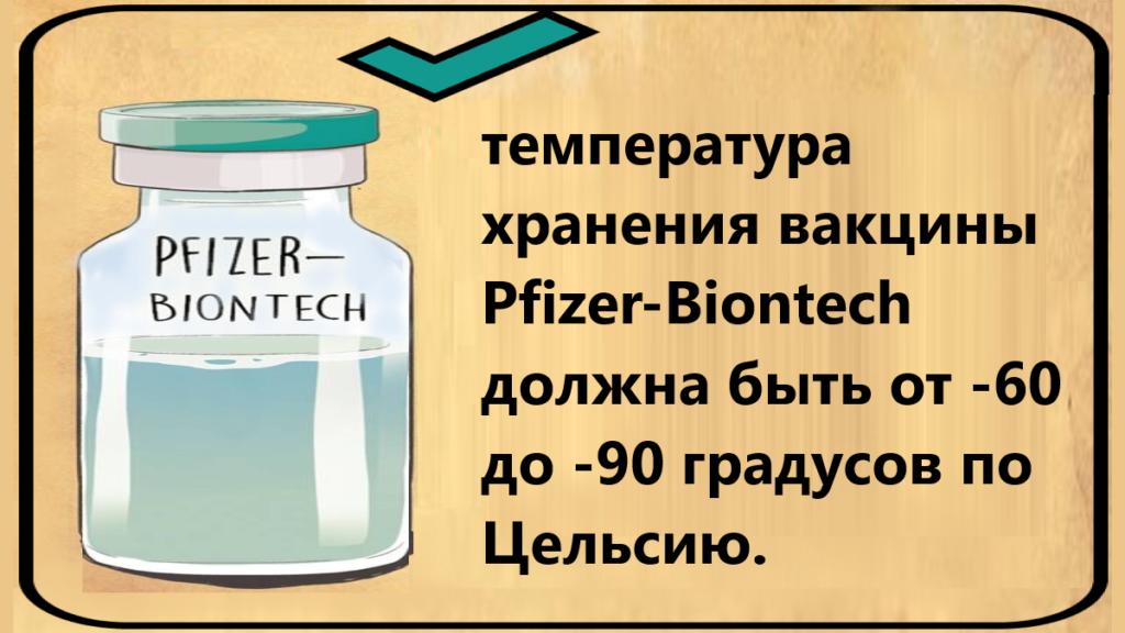 условия хранения вакцины от коронавируса Pfizer-Biontech