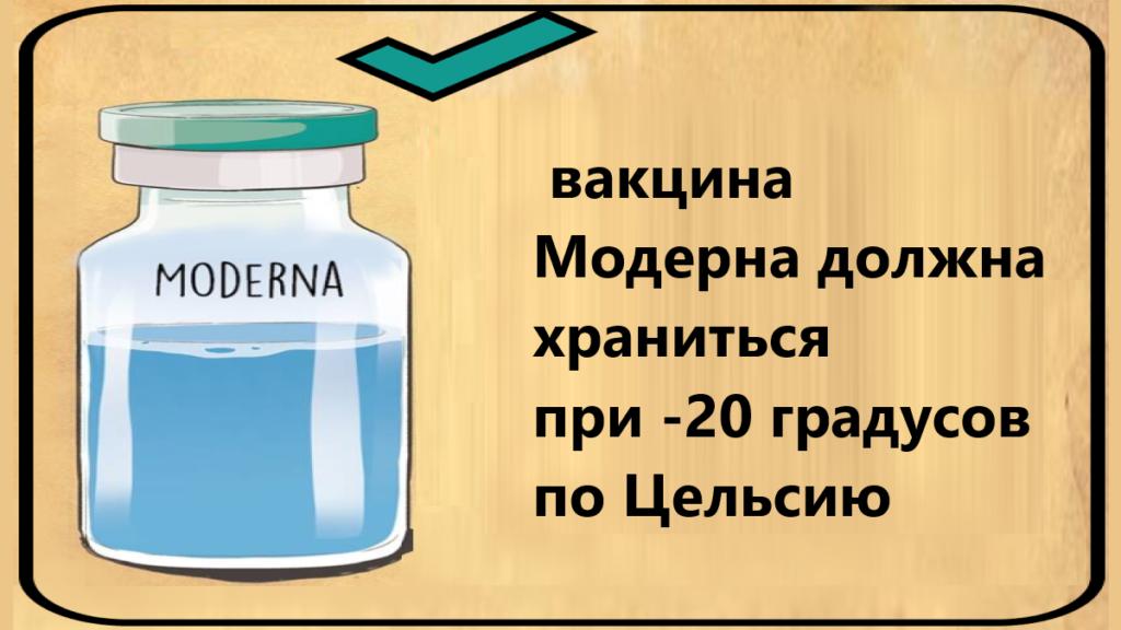 условия хранения вакцины от коронавируса Модерна