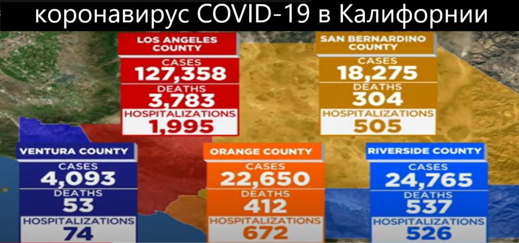 данные по коронавирусу в штате калифорния